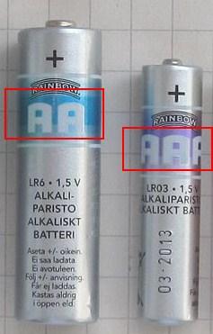 Разница в батарейка АА и ААА
